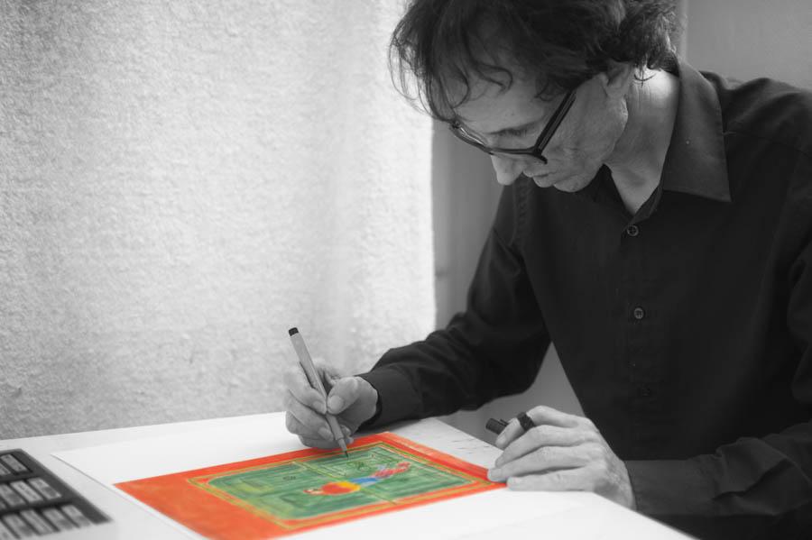Au pays d' Alain Dabreteau, la Guitare se conjugue au pluriel. Alain interprète des œuvres à la guitare et s'adonne à sa deuxième passion: le dessin.